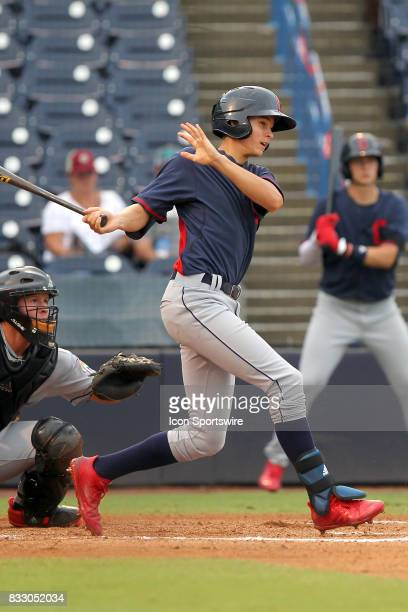 Brooks Baldwin of Whiteville HS at bat during the East Coast Pro Showcase on August 02 at Steinbrenner Field in Tampa FL