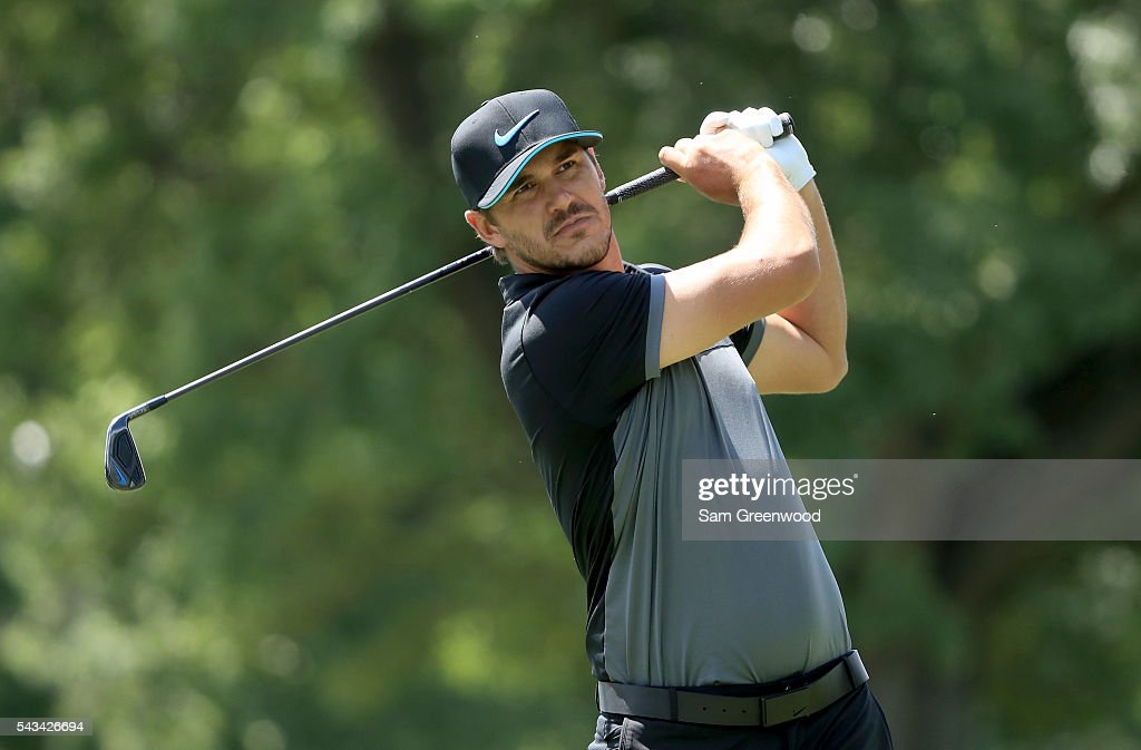 Brooks Koepka hits a shot during a practice round prior to the World Golf Championships-Bridgestone Invitational at Firestone Country Club South Course on June 28, 2016 in Akron, Ohio.