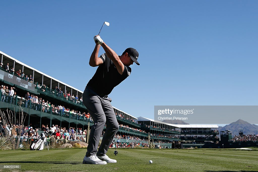 Brooks Koepka hits a tee shot on the 16th hole during the pro-am for the the Waste Management Phoenix Open at TPC Scottsdale on February 3, 2016 in Scottsdale, Arizona.