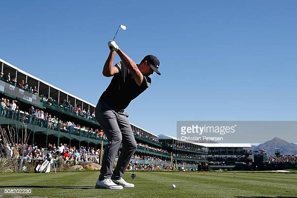 Brooks Koepka hits a tee shot on the 16th hole during the proam for the the Waste Management Phoenix Open at TPC Scottsdale on February 3 2016 in...