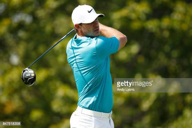 Brooks Koepka hits his tee shot on the fourth hole during the second round of the BMW Championship at Conway Farms Golf Club on September 15 2017 in...