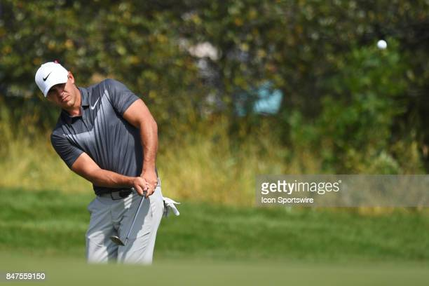 Brooks Koepka hits on the seventh hole during the First Round of the BMW Championship on September 14 at Conway Farms Golf Club in Lake Forest IL