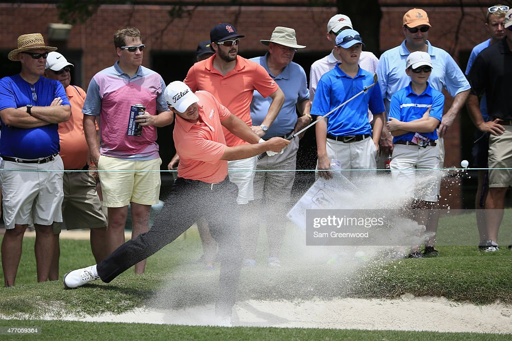 Brooks Koepka hits out of a bunker on the second hole during round three of the FedEx St Jude Classic at TPC Southwind on June 13 2015 in Memphis...