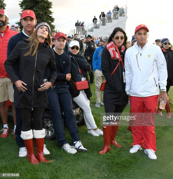Brooks Koepka Jordan Spieth and Rickie Fowler of the US Team watch play on the 18th hole uring the afternoon fourball matches at the Presidents Cup...