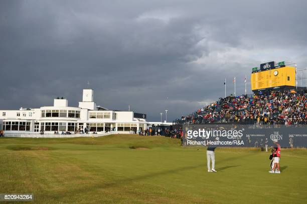 Brooks Koepka of the United States chips to the 18th green during the third round of the 146th Open Championship at Royal Birkdale on July 22 2017 in...