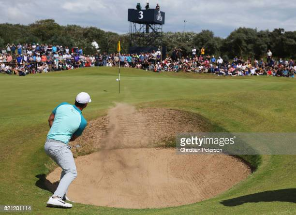 Brooks Koepka of the United States hits a bunker shot on the 3rd hole during the final round of the 146th Open Championship at Royal Birkdale on July...