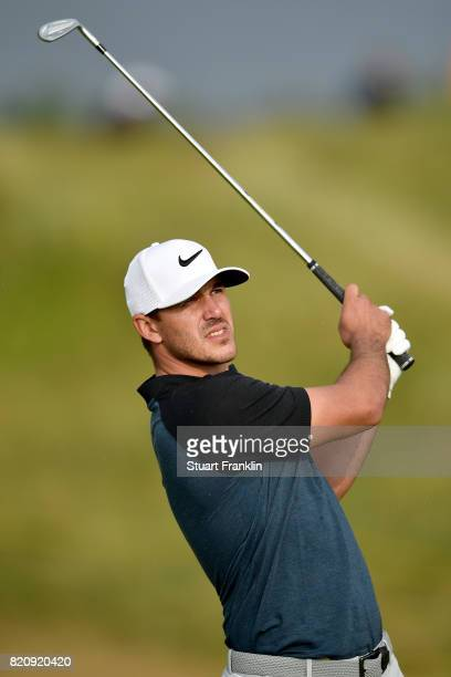 Brooks Koepka of the United States hits a shot on the 16th hole during the third round of the 146th Open Championship at Royal Birkdale on July 22...