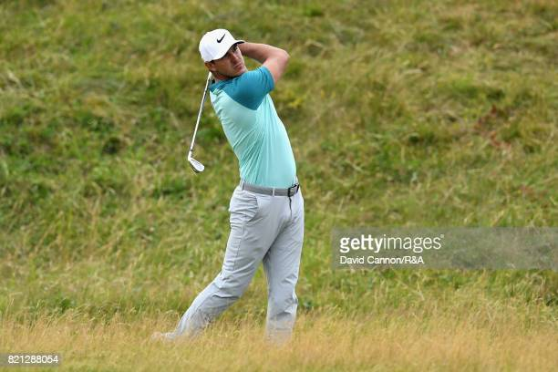 Brooks Koepka of the United States hits an approach shot during the final round of the 146th Open Championship at Royal Birkdale on July 23 2017 in...