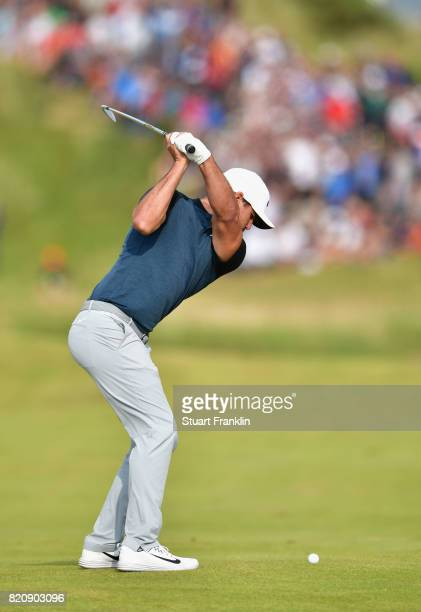 Brooks Koepka of the United States hits his second shot on the 13th hole during the third round of the 146th Open Championship at Royal Birkdale on...