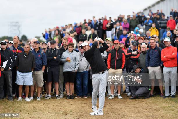Brooks Koepka of the United States hits his second shot on the 15th hole during the first round of the 146th Open Championship at Royal Birkdale on...