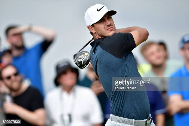 Brooks Koepka of the United States hits his tee shot on the 15th hole during the third round of the 146th Open Championship at Royal Birkdale on July...