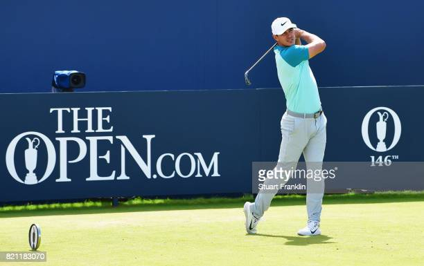 Brooks Koepka of the United States hits his tee shot on the 1st hole during the final round of the 146th Open Championship at Royal Birkdale on July...