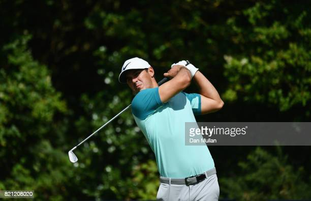 Brooks Koepka of the United States hits his tee shot on the 5th hole during the final round of the 146th Open Championship at Royal Birkdale on July...
