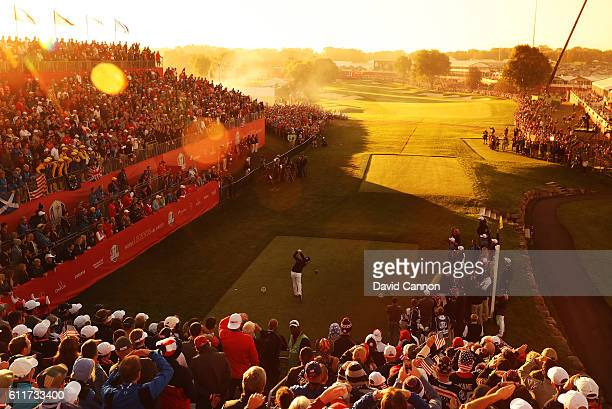 Brooks Koepka of the United States hits off the first tee during morning foursome matches of the 2016 Ryder Cup at Hazeltine National Golf Club on...