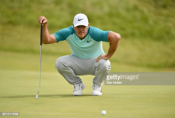Brooks Koepka of the United States lines up a putt during the final round of the 146th Open Championship at Royal Birkdale on July 23 2017 in...