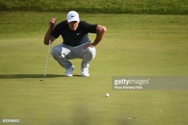 Brooks Koepka of the United States lines up on the 11th green during the third round of the 146th Open Championship at Royal Birkdale on July 22 2017...