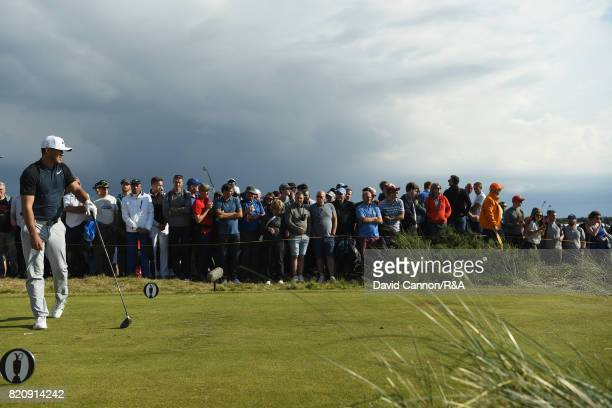 Brooks Koepka of the United States on the 11th tee during the third round of the 146th Open Championship at Royal Birkdale on July 22 2017 in...