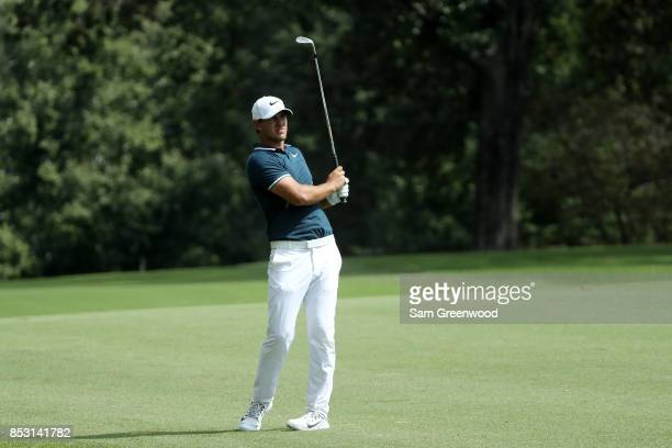 Brooks Koepka of the United States plays a shot during the final round of the TOUR Championship at East Lake Golf Club on September 24 2017 in...