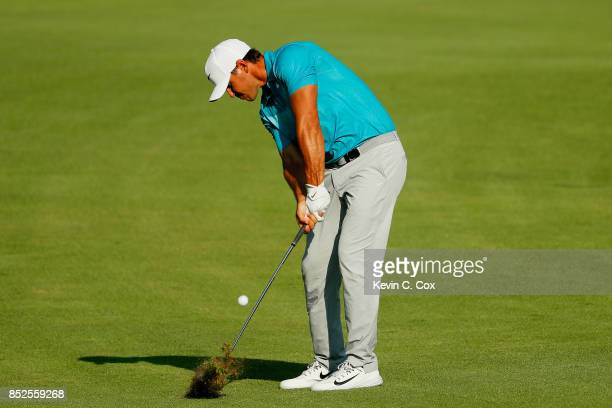 Brooks Koepka of the United States plays a shot on the 16th hole during the third round of the TOUR Championship at East Lake Golf Club on September...