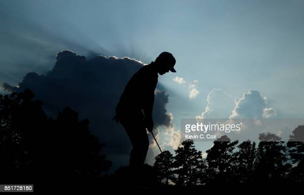Brooks Koepka of the United States plays a shot on the 17th hole during the second round of the TOUR Championship at East Lake Golf Club on September...