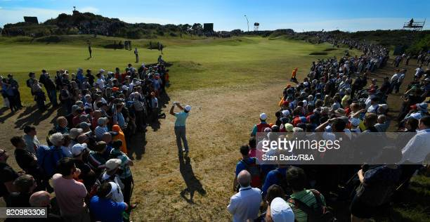 Brooks Koepka of the United States plays a shot on the tenth hole during the third round of the 146th Open Championship at Royal Birkdale on July 22...