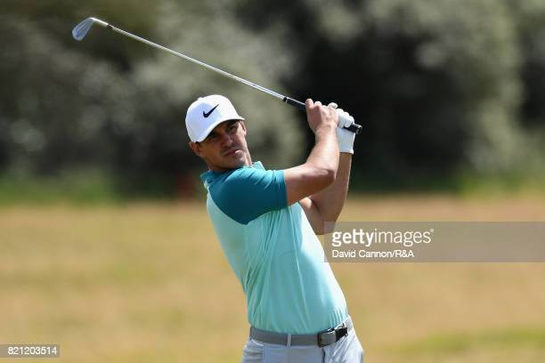 Brooks Koepka of the United States plays his second shot on the first hole during the final round of the 146th Open Championship at Royal Birkdale on...