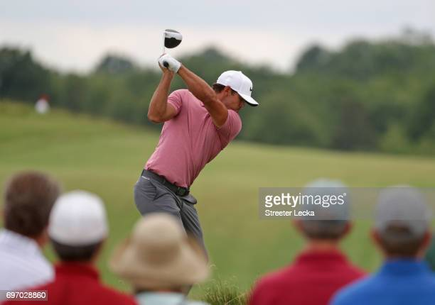 Brooks Koepka of the United States plays his shot from the 12th tee during the third round of the 2017 US Open at Erin Hills on June 17 2017 in...