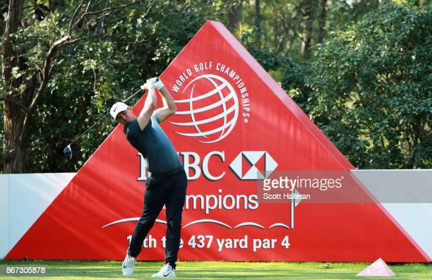 Brooks Koepka of the United States plays his shot from the 13th tee during the third round of the WGC HSBC Champions at Sheshan International Golf...
