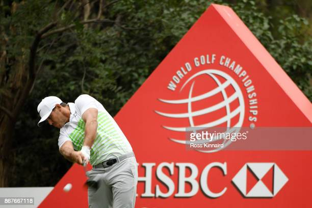 Brooks Koepka of the United States plays his shot from the 13th tee during the final round of the WGC HSBC Champions at Sheshan International Golf...