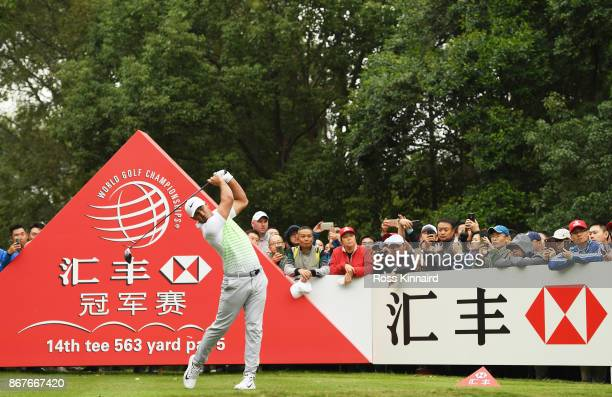 Brooks Koepka of the United States plays his shot from the 14th tee during the final round of the WGC HSBC Champions at Sheshan International Golf...
