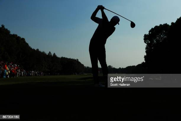 Brooks Koepka of the United States plays his shot from the 15th tee during the third round of the WGC HSBC Champions at Sheshan International Golf...