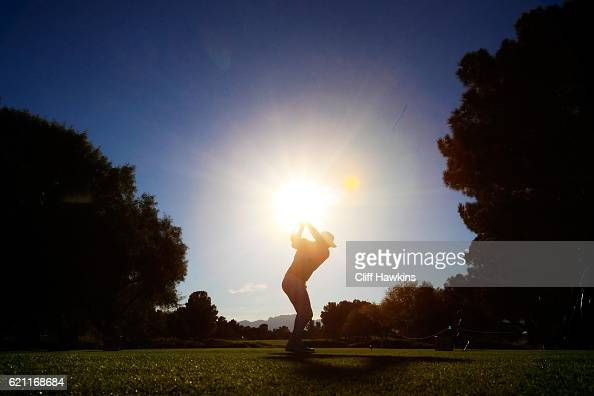 Brooks Koepka of the United States plays his shot from the 16th tee during the second round of the Shriners Hospitals For Children Open on November 4...