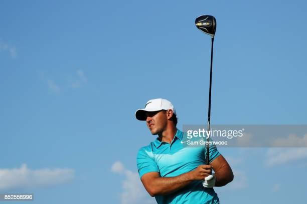 Brooks Koepka of the United States plays his shot from the 16th tee during the third round of the TOUR Championship at East Lake Golf Club on...