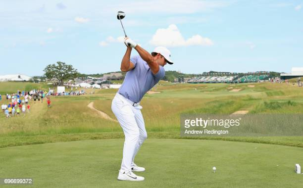 Brooks Koepka of the United States plays his shot from the 18th tee during the second round of the 2017 US Open at Erin Hills on June 16 2017 in...