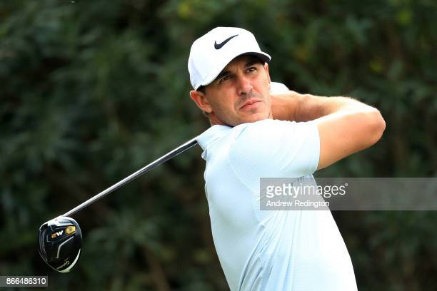 Brooks Koepka of the United States plays his shot from the 18th tee during the first round of the WGC HSBC Champions at Sheshan International Golf...
