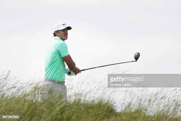 Brooks Koepka of the United States plays his shot from the fifth tee during the final round of the 2017 US Open at Erin Hills on June 18 2017 in...