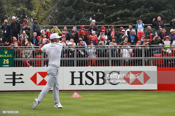 Brooks Koepka of the United States plays his shot from the first tee during the final round of the WGC HSBC Champions at Sheshan International Golf...