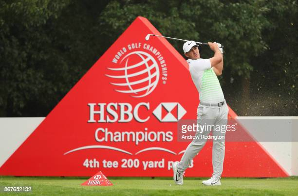 Brooks Koepka of the United States plays his shot from the fourth tee during the final round of the WGC HSBC Champions at Sheshan International Golf...