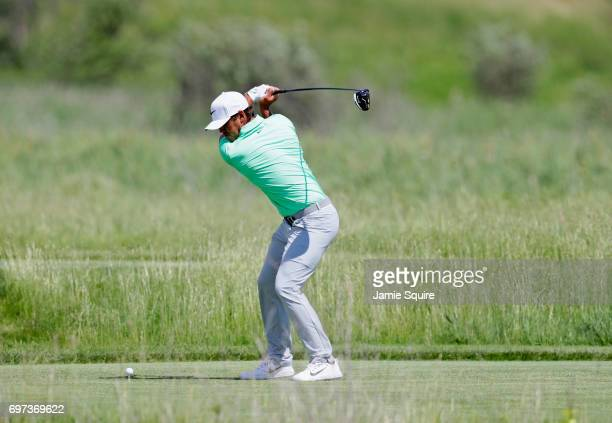 Brooks Koepka of the United States plays his shot from the second tee during the final round of the 2017 US Open at Erin Hills on June 18 2017 in...