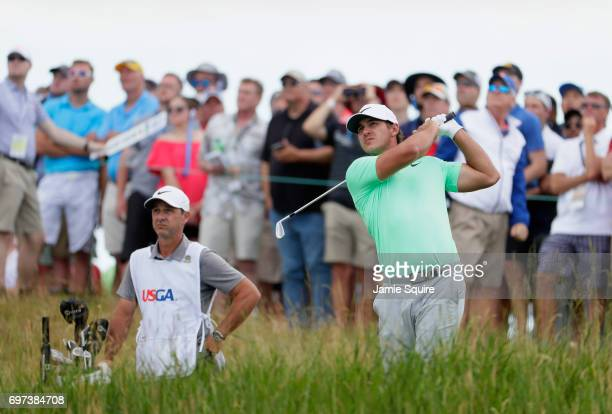 Brooks Koepka of the United States plays his shot from the sixth tee during the final round of the 2017 US Open at Erin Hills on June 18 2017 in...