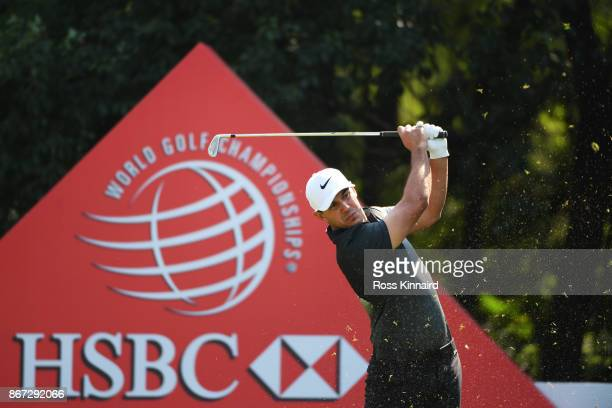 Brooks Koepka of the United States plays his shot from the sixth tee during the third round of the WGC HSBC Champions at Sheshan International Golf...