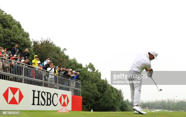 Brooks Koepka of the United States plays his shot from the tenth tee during the final round of the WGC HSBC Champions at Sheshan International Golf...