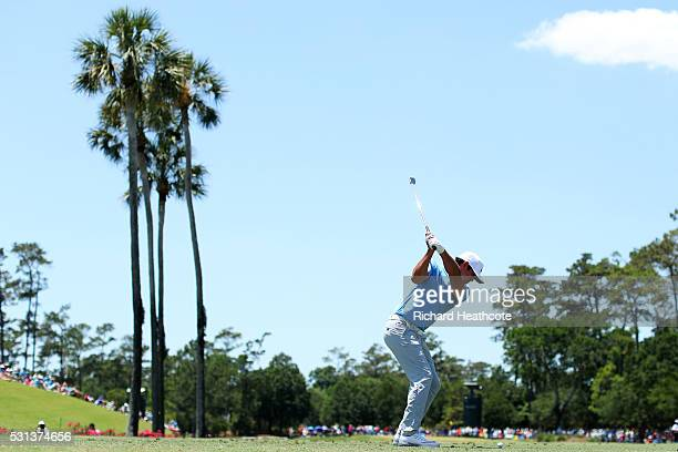 Brooks Koepka of the United States plays his shot from the third tee during the third round of THE PLAYERS Championship at the Stadium course at TPC...