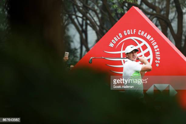 Brooks Koepka of the United States plays his shot from the third tee during the final round of the WGC HSBC Champions at Sheshan International Golf...