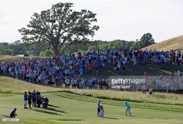 Brooks Koepka of the United States plays his shot on the 18th hole during the final round of the 2017 US Open at Erin Hills on June 18 2017 in...