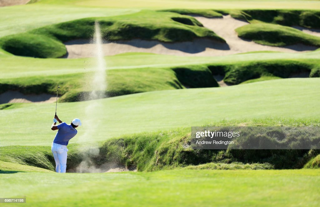 Brooks Koepka of the United States plays his shot on the fourth hole during the second round of the 2017 U.S. Open at Erin Hills on June 16, 2017 in Hartford, Wisconsin.