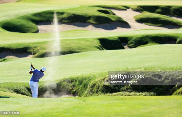 Brooks Koepka of the United States plays his shot on the fourth hole during the second round of the 2017 US Open at Erin Hills on June 16 2017 in...