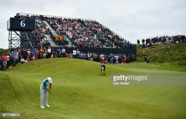 Brooks Koepka of the United States putts on the 6th hole during the final round of the 146th Open Championship at Royal Birkdale on July 23 2017 in...