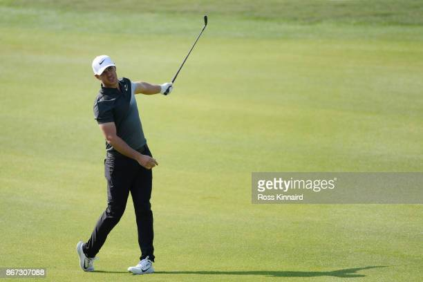 Brooks Koepka of the United States reacts during the third round of the WGC HSBC Champions at Sheshan International Golf Club on October 28 2017 in...