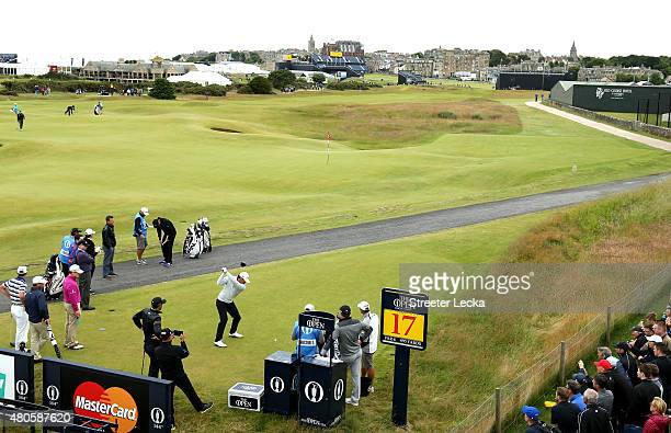 Brooks Koepka of the United States tees off from 17 during a practice round ahead of the 144th Open Championship at The Old Course on July 13 2015 in...
